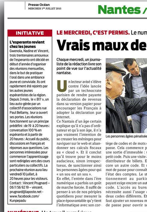 Coupure de presse espéranto Nantes
